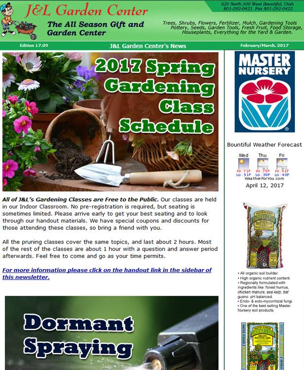 jl garden center newsletter 620 North 500 West Bountiful UT 84010