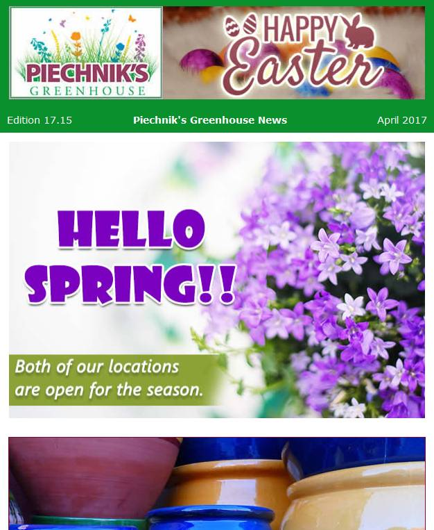 piechniks greenhouse garden center newsletter